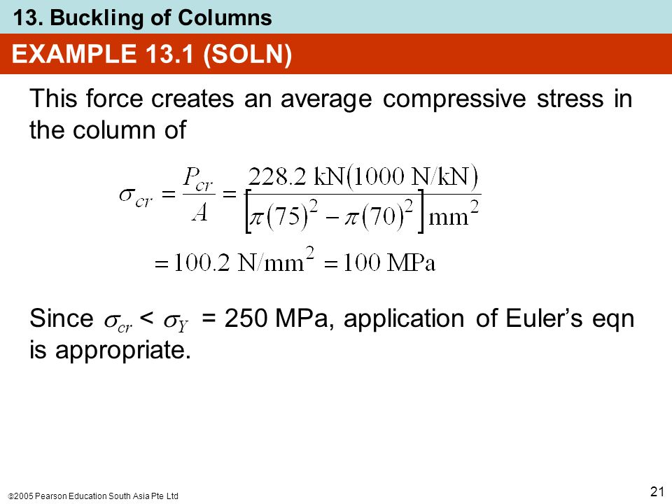  2005 Pearson Education South Asia Pte Ltd 13. Buckling of Columns 21 EXAMPLE 13.1 (SOLN) This force creates an average compressive stress in the col