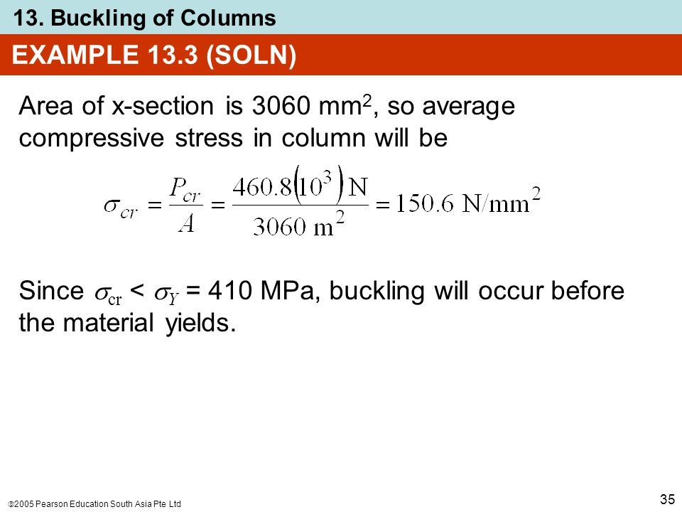  2005 Pearson Education South Asia Pte Ltd 13. Buckling of Columns 35 EXAMPLE 13.3 (SOLN) Area of x-section is 3060 mm 2, so average compressive stre