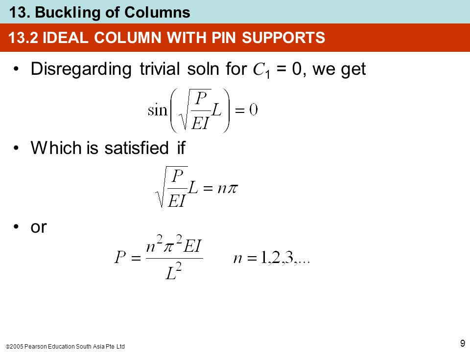  2005 Pearson Education South Asia Pte Ltd 13. Buckling of Columns 9 13.2 IDEAL COLUMN WITH PIN SUPPORTS Disregarding trivial soln for C 1 = 0, we ge