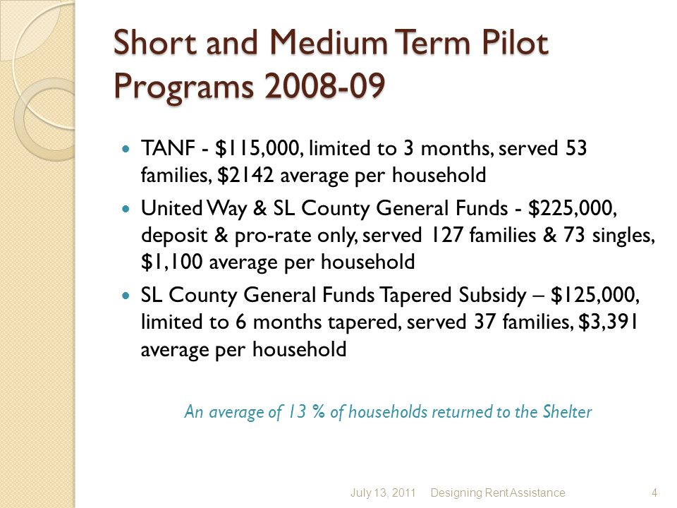 Short and Medium Term Pilot Programs 2008-09 TANF - $115,000, limited to 3 months, served 53 families, $2142 average per household United Way & SL County General Funds - $225,000, deposit & pro-rate only, served 127 families & 73 singles, $1,100 average per household SL County General Funds Tapered Subsidy – $125,000, limited to 6 months tapered, served 37 families, $3,391 average per household An average of 13 % of households returned to the Shelter July 13, 2011Designing Rent Assistance4
