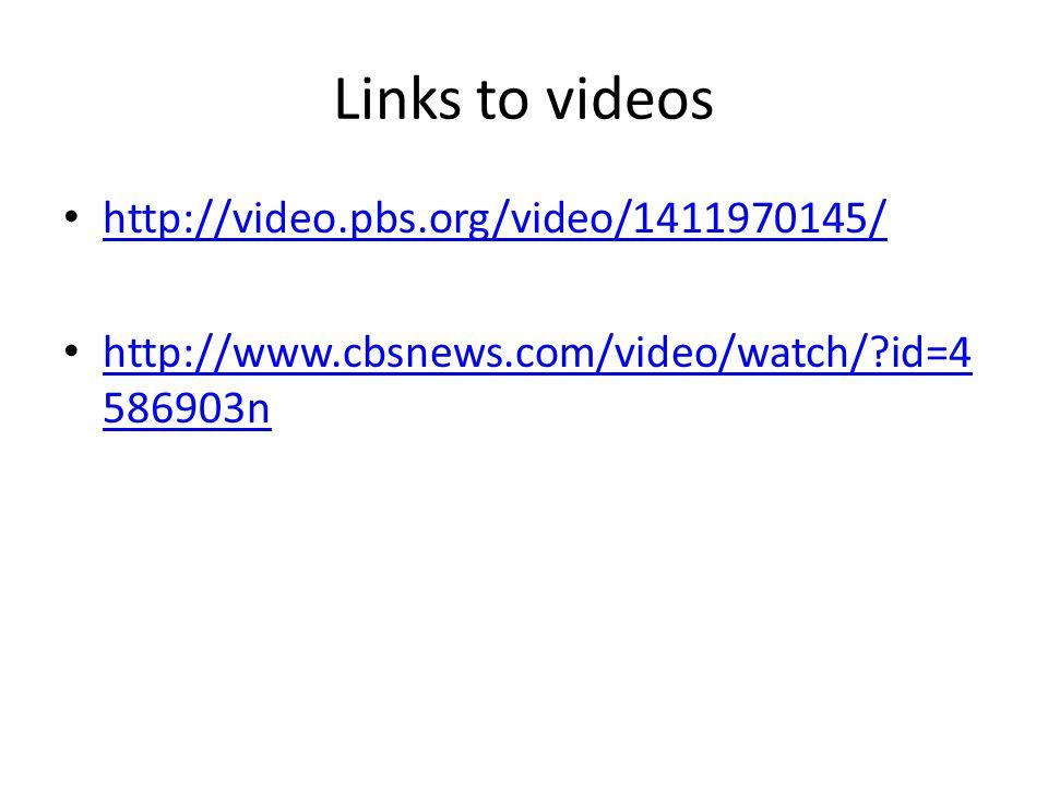 Links to videos http://video.pbs.org/video/1411970145/ http://www.cbsnews.com/video/watch/?id=4 586903n http://www.cbsnews.com/video/watch/?id=4 58690