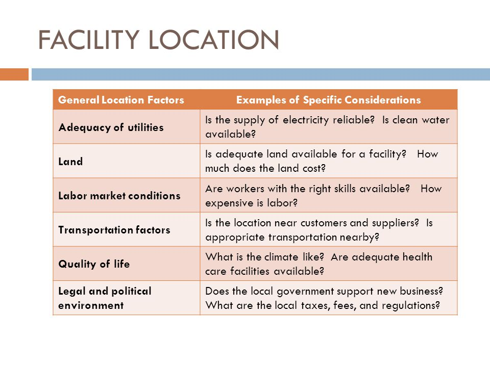 FACILITY LOCATION General Location FactorsExamples of Specific Considerations Adequacy of utilities Is the supply of electricity reliable.