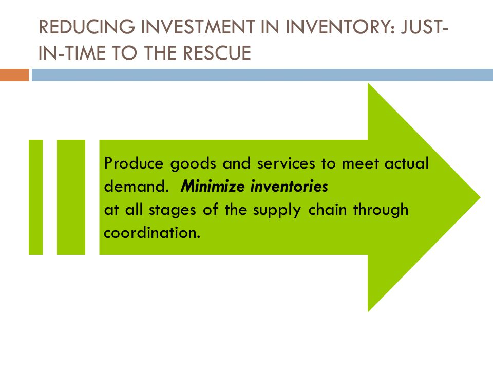 REDUCING INVESTMENT IN INVENTORY: JUST- IN-TIME TO THE RESCUE Produce goods and services to meet actual demand.