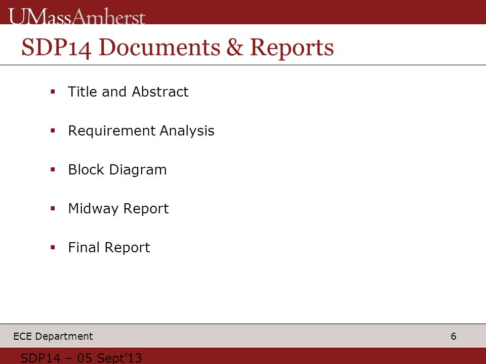 6 ECE Department SDP14 Documents & Reports  Title and Abstract  Requirement Analysis  Block Diagram  Midway Report  Final Report SDP14 – 05 Sept'13