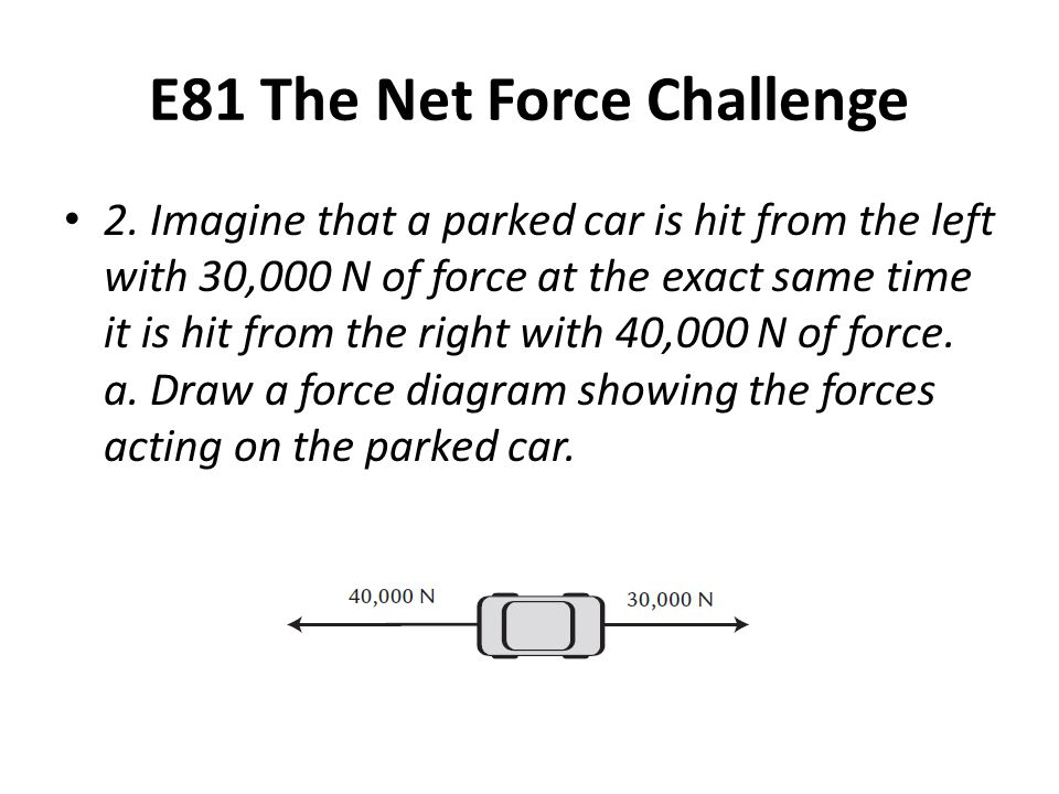 E81 The Net Force Challenge 2. Imagine that a parked car is hit from the left with 30,000 N of force at the exact same time it is hit from the right w