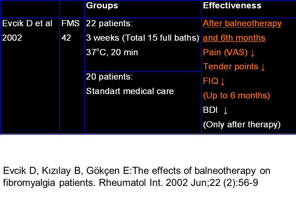 Evcik D, Kızılay B, Gökçen E:The effects of balneotherapy on fibromyalgia patients.