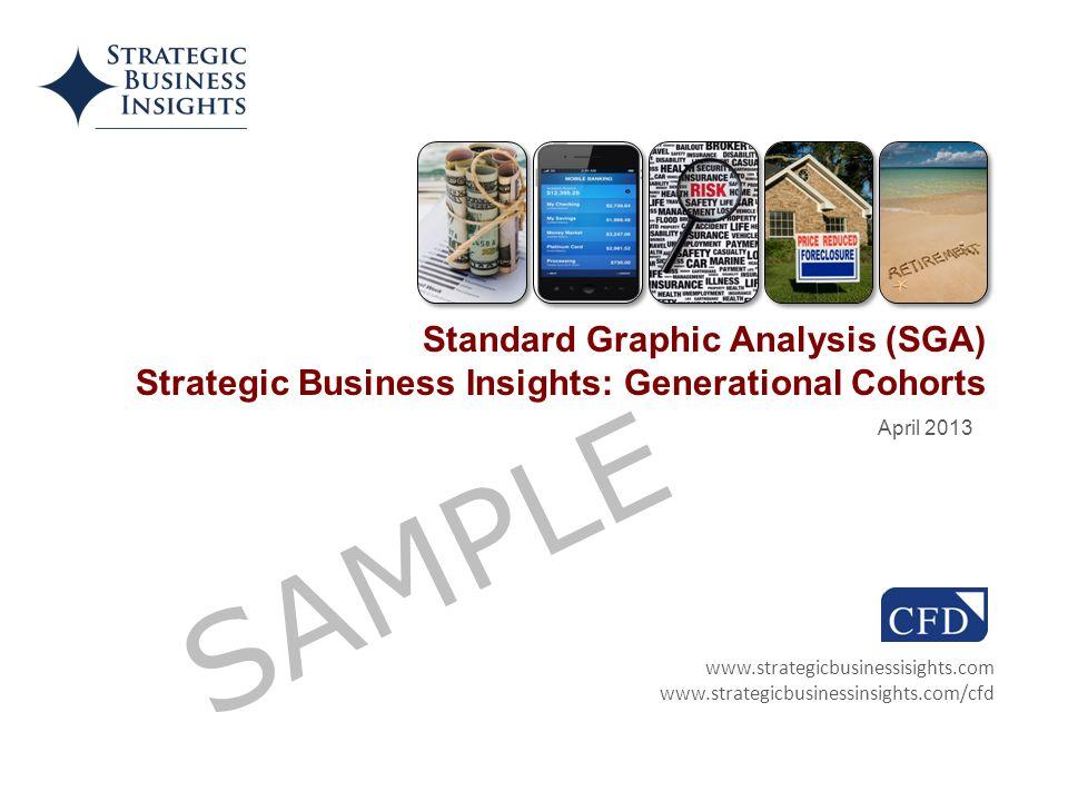 Source: The 2012–13 MacroMonitor www.strategicbusinessisights.com www.strategicbusinessinsights.com/cfd April 2013 Standard Graphic Analysis (SGA) Strategic Business Insights: Generational Cohorts SAMPLE