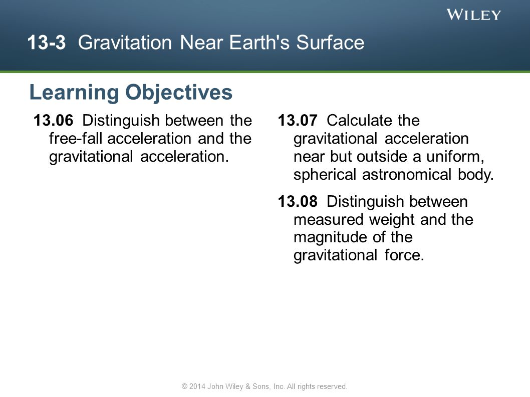 13-3 Gravitation Near Earth's Surface 13.06 Distinguish between the free-fall acceleration and the gravitational acceleration. 13.07 Calculate the gra