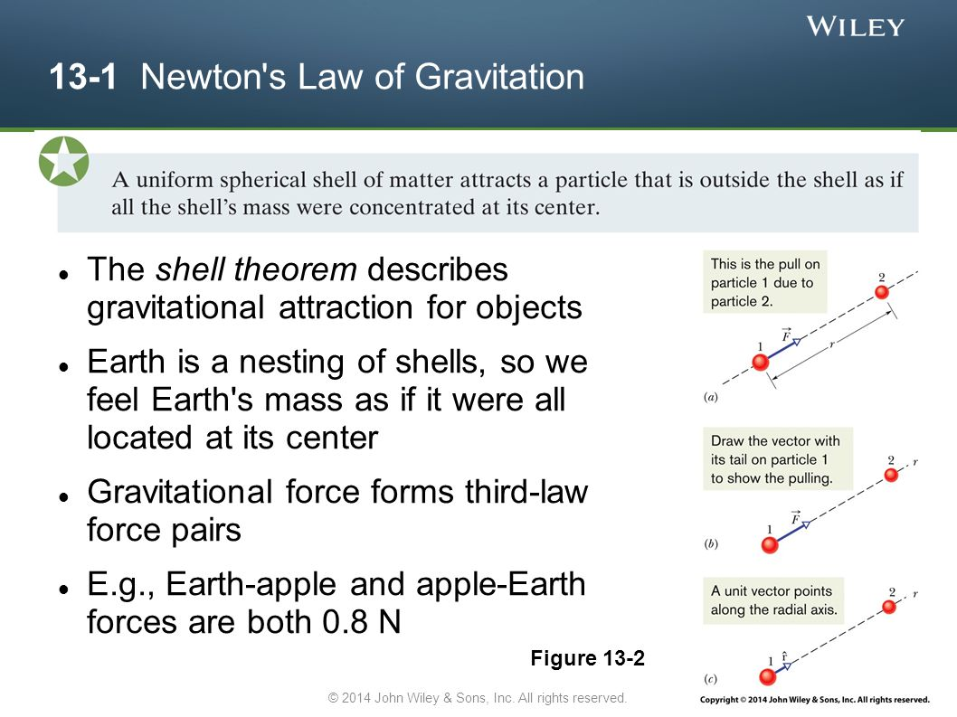 13-1 Newton s Law of Gravitation The shell theorem describes gravitational attraction for objects Earth is a nesting of shells, so we feel Earth s mass as if it were all located at its center Gravitational force forms third-law force pairs E.g., Earth-apple and apple-Earth forces are both 0.8 N Figure 13-2 © 2014 John Wiley & Sons, Inc.