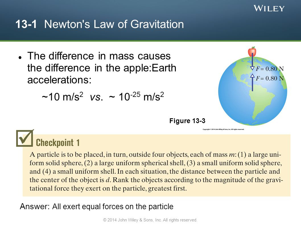 13-1 Newton s Law of Gravitation The difference in mass causes the difference in the apple:Earth accelerations: ~10 m/s 2 vs.
