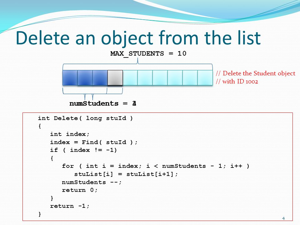 Delete an object from the list numStudents = 4 MAX_STUDENTS = 10 int Delete( long stuId ) { int index; index = Find( stuId ); if ( index != -1) { for ( int i = index; i < numStudents - 1; i++ ) stuList[i] = stuList[i+1]; numStudents --; return 0; } return -1; } // Delete the Student object // with ID 1002 numStudents = 3 4