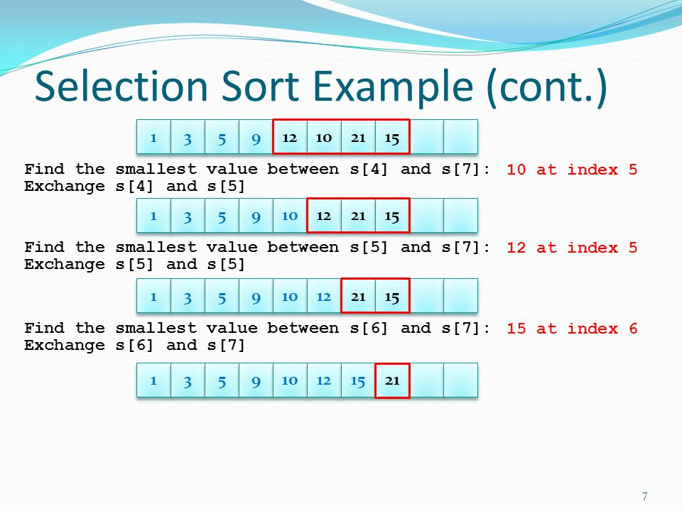 Pseudo Code for Selection Sort Given s[MAX_SIZE], size; for i = 0 to size - 2 find the index of a smallest element between s[i] and s[size - 1] swap s[i] and s[index] What functions do we need.