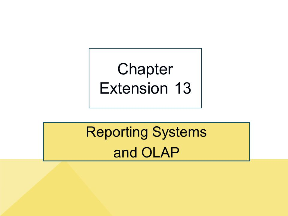 Reporting Systems and OLAP Chapter Extension 13