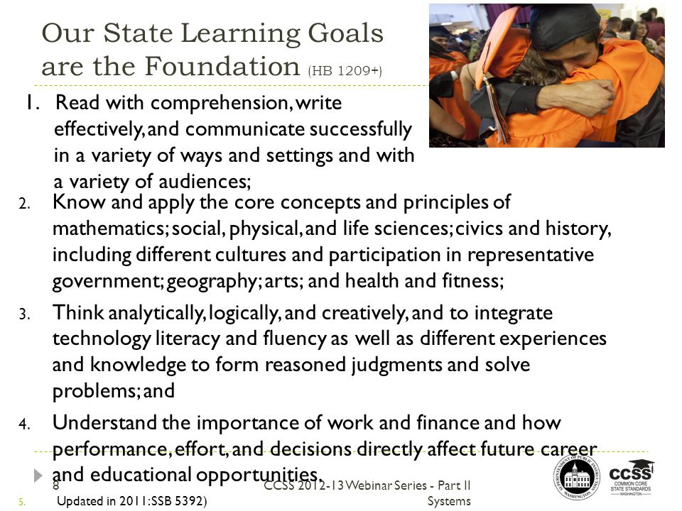 Our State Learning Goals are the Foundation (HB 1209+) CCSS 2012-13 Webinar Series - Part II Systems 2.
