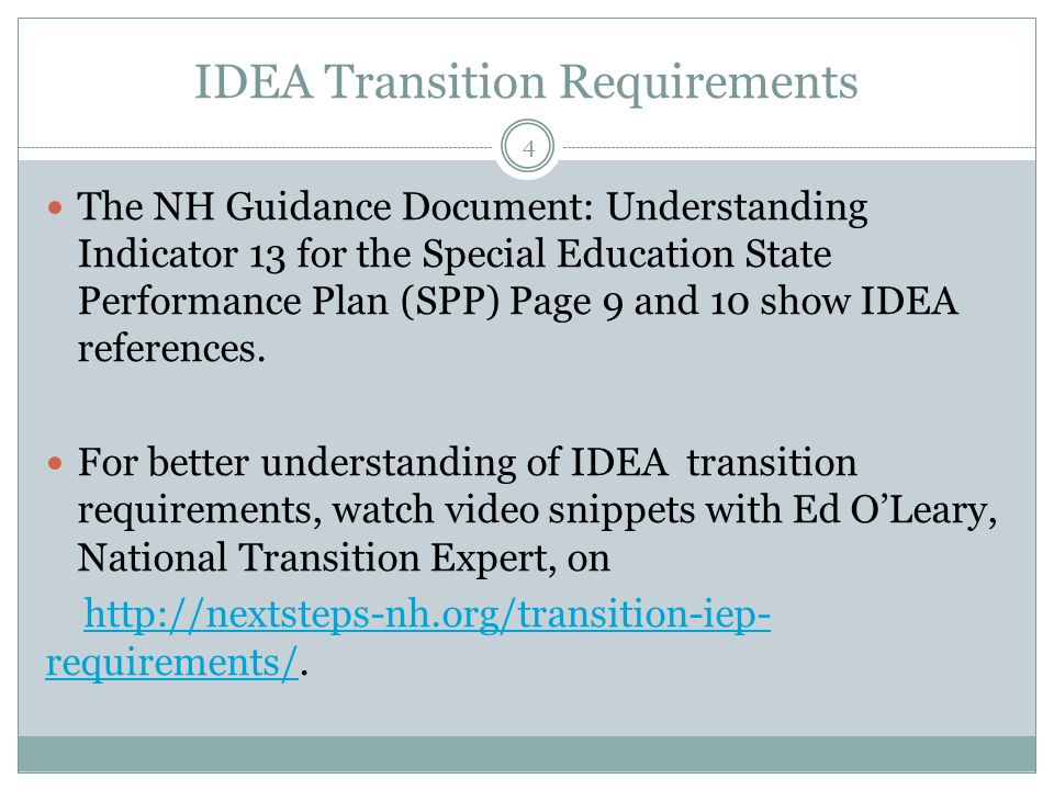 Student Oriented Transition Process The transition plan builds upon itself.