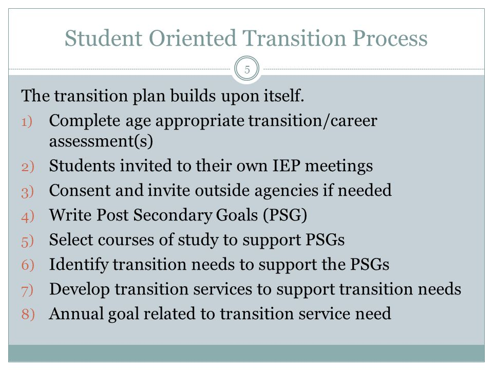 Student Oriented Transition Process The transition plan builds upon itself. 1) Complete age appropriate transition/career assessment(s) 2) Students in
