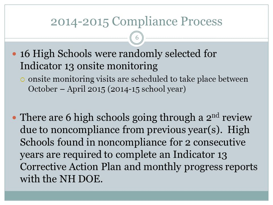 2014-2015 Compliance Process 16 High Schools were randomly selected for Indicator 13 onsite monitoring  onsite monitoring visits are scheduled to tak