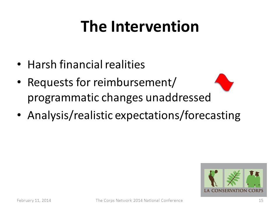 The Intervention Harsh financial realities Requests for reimbursement/ programmatic changes unaddressed Analysis/realistic expectations/forecasting February 11, 2014The Corps Network 2014 National Conference15