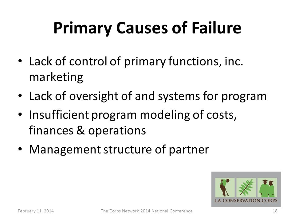 Primary Causes of Failure Lack of control of primary functions, inc.
