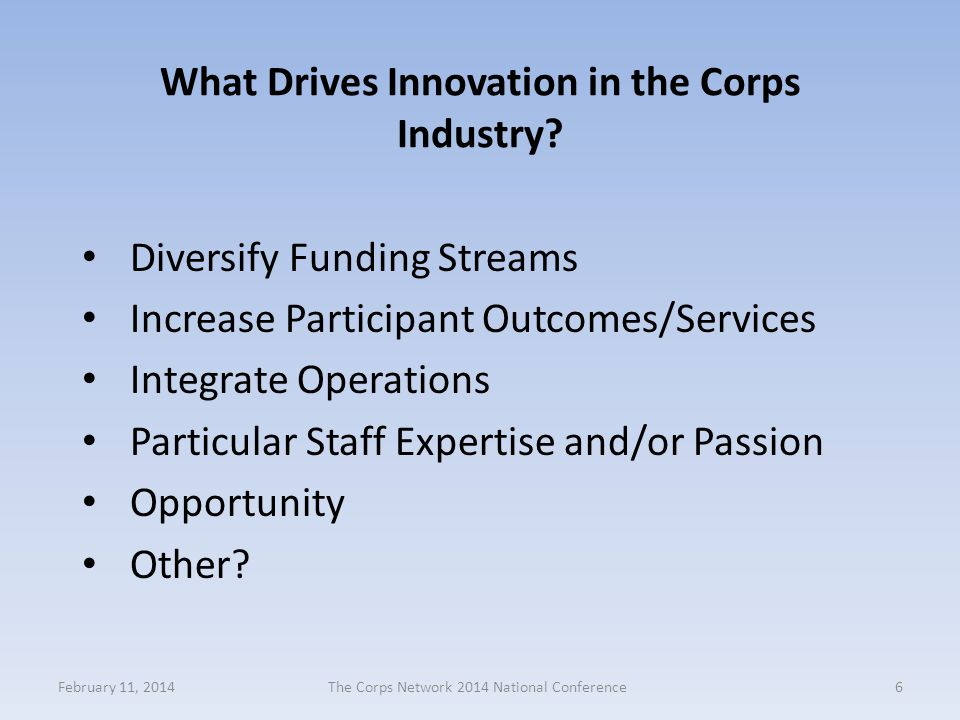 What Drives Innovation in the Corps Industry.