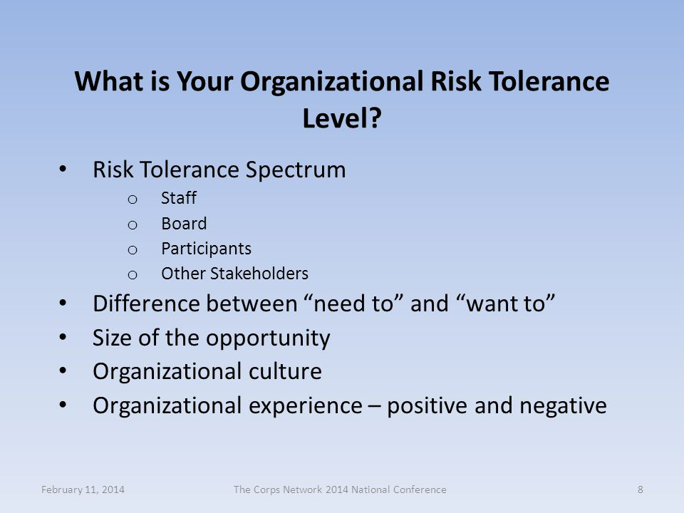"""What is Your Organizational Risk Tolerance Level? Risk Tolerance Spectrum o Staff o Board o Participants o Other Stakeholders Difference between """"need"""