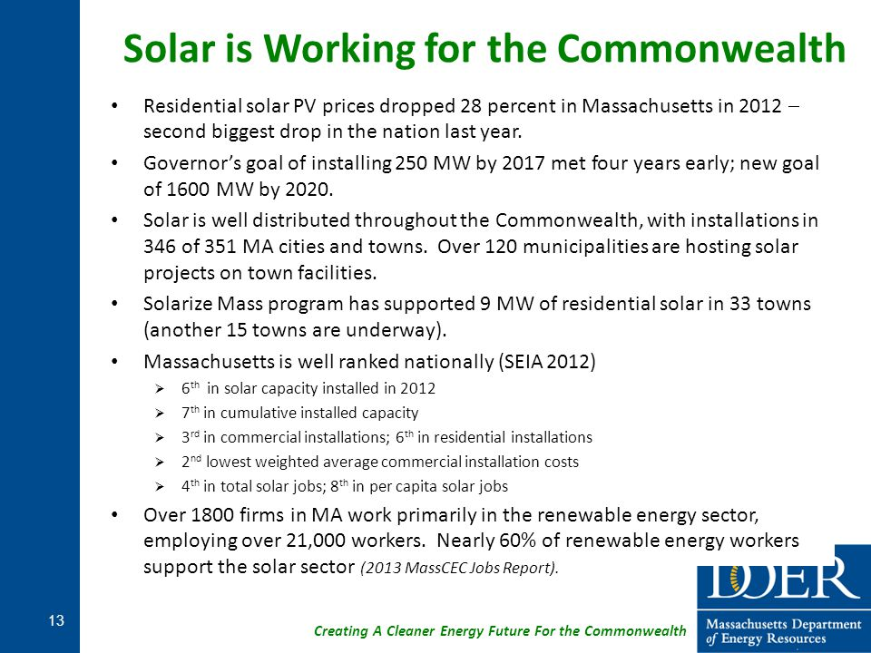 Creating A Cleaner Energy Future For the Commonwealth Residential solar PV prices dropped 28 percent in Massachusetts in 2012  second biggest drop in