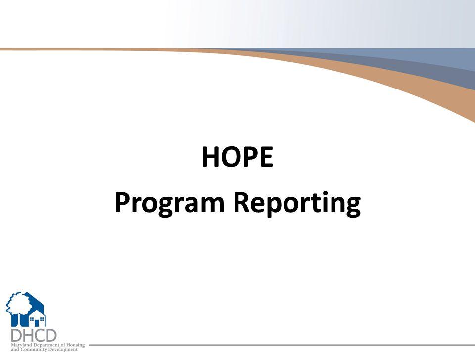 HOPE Program Reporting