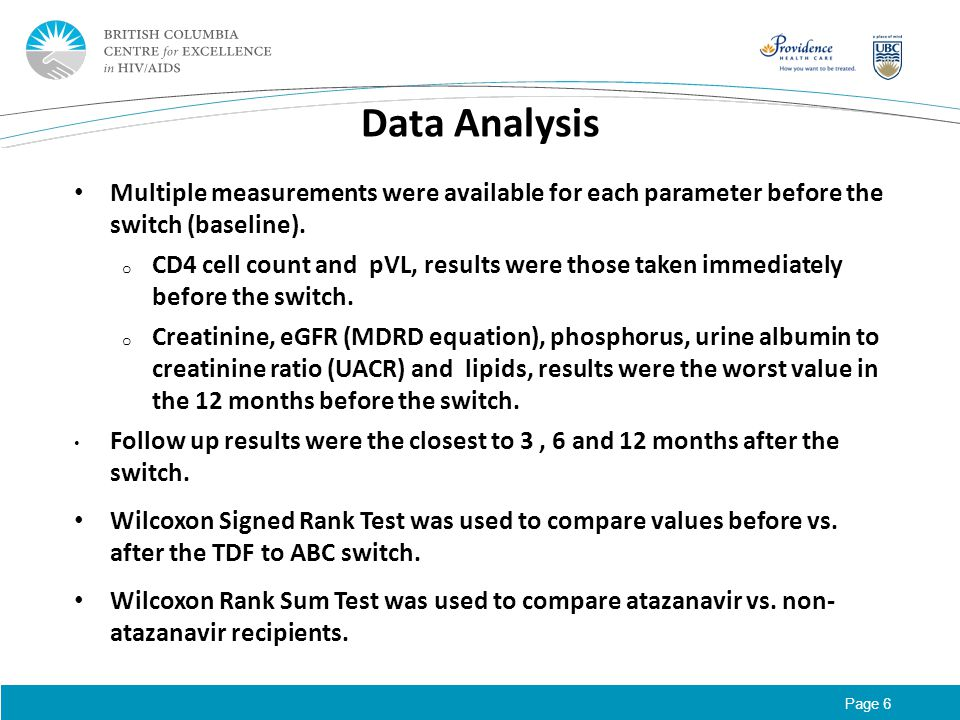 Page 6 Data Analysis Multiple measurements were available for each parameter before the switch (baseline). o CD4 cell count and pVL, results were thos