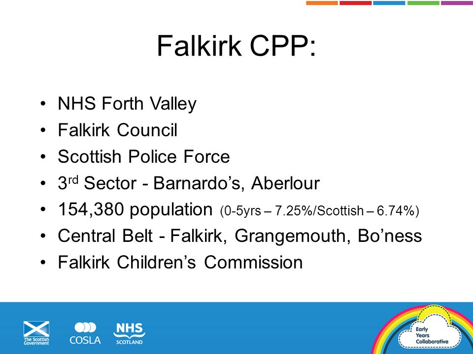 Falkirk CPP: NHS Forth Valley Falkirk Council Scottish Police Force 3 rd Sector - Barnardo's, Aberlour 154,380 population (0-5yrs – 7.25%/Scottish – 6.74%) Central Belt - Falkirk, Grangemouth, Bo'ness Falkirk Children's Commission
