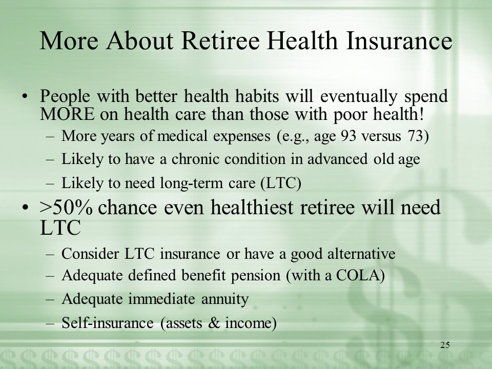 More About Retiree Health Insurance People with better health habits will eventually spend MORE on health care than those with poor health.