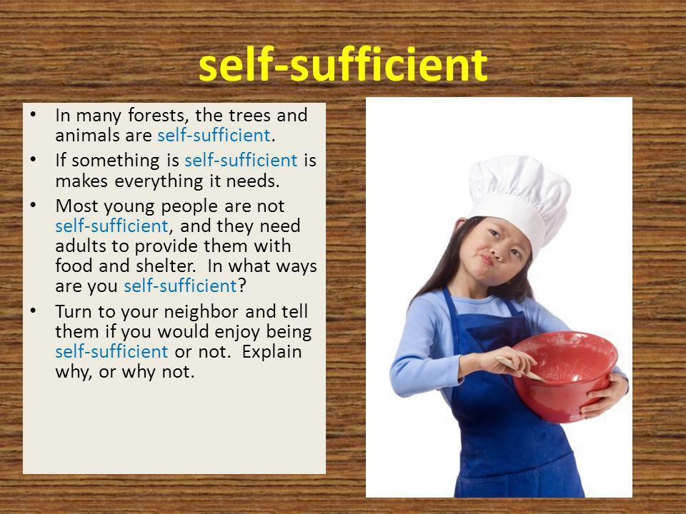 self-sufficient In many forests, the trees and animals are self-sufficient. If something is self-sufficient is makes everything it needs. Most young p