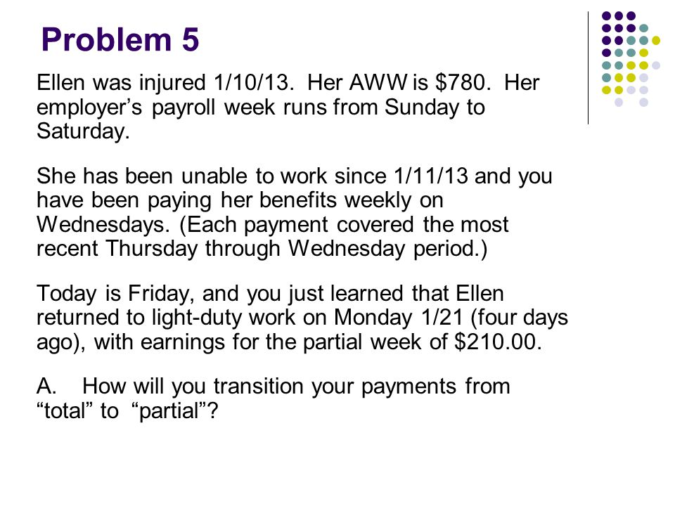 Problem 5 Ellen was injured 1/10/13. Her AWW is $780. Her employer's payroll week runs from Sunday to Saturday. She has been unable to work since 1/11
