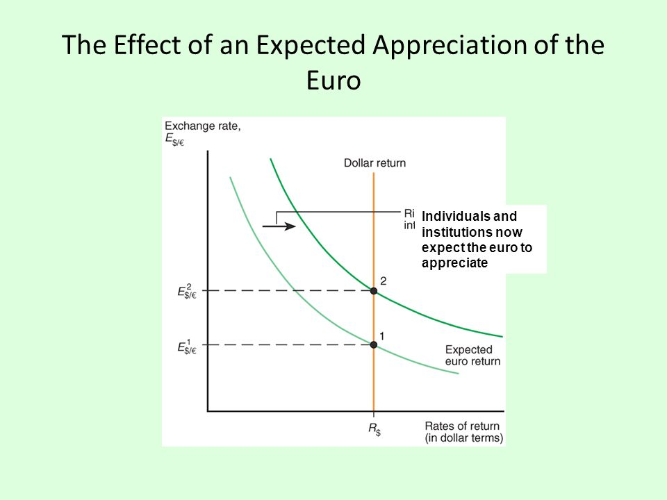 The Effect of an Expected Appreciation of the Euro Individuals and institutions now expect the euro to appreciate