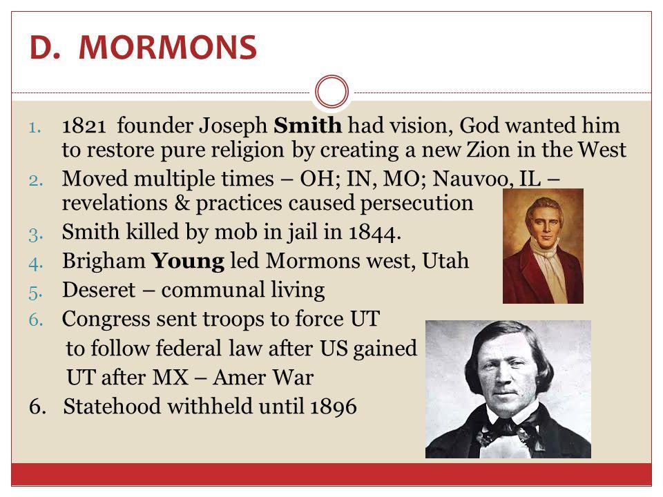 D. MORMONS 1.