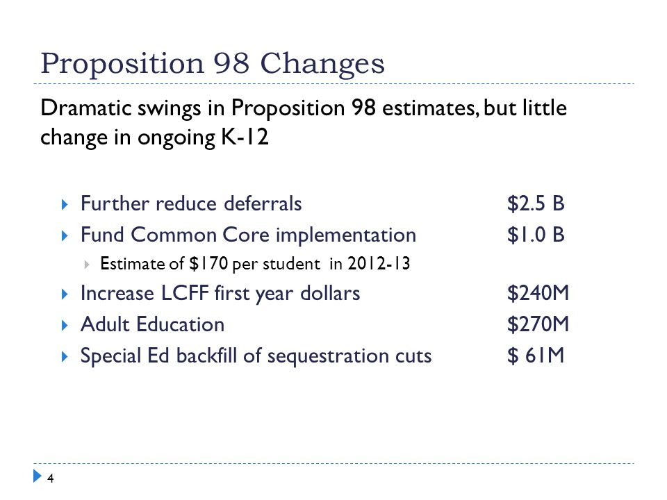 Proposition 98 Changes Dramatic swings in Proposition 98 estimates, but little change in ongoing K-12  Further reduce deferrals $2.5 B  Fund Common Core implementation$1.0 B  Estimate of $170 per student in 2012-13  Increase LCFF first year dollars$240M  Adult Education$270M  Special Ed backfill of sequestration cuts$ 61M 4