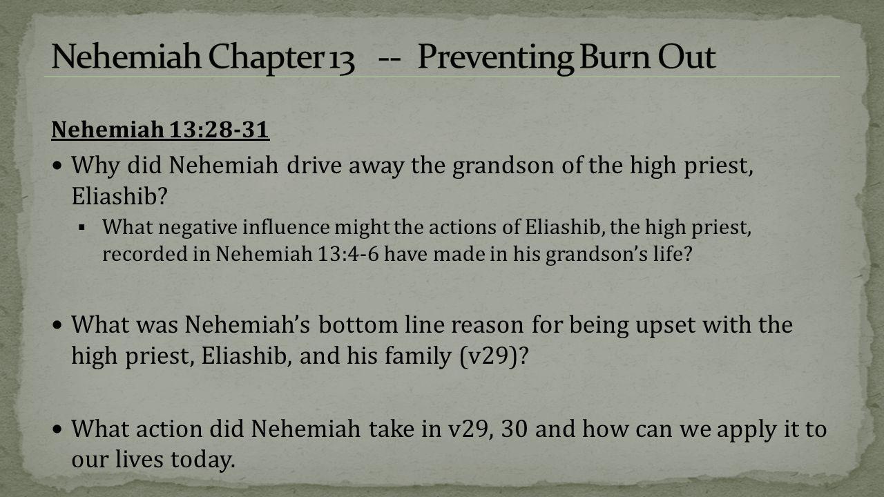 Nehemiah 13:28-31 Why did Nehemiah drive away the grandson of the high priest, Eliashib.