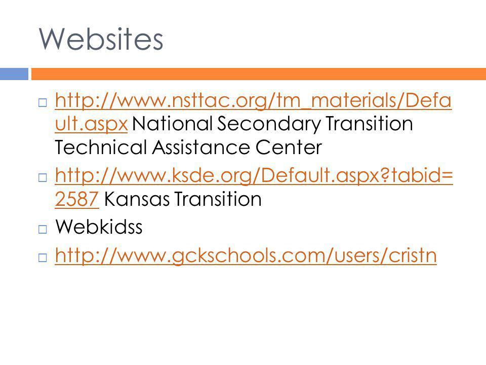 Websites  http://www.nsttac.org/tm_materials/Defa ult.aspx National Secondary Transition Technical Assistance Center http://www.nsttac.org/tm_materia