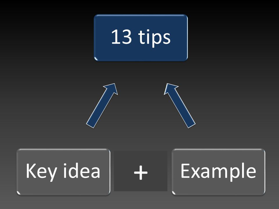13 tipsExampleKey idea +