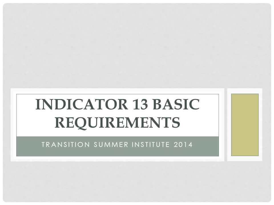 TRANSITION SUMMER INSTITUTE 2014 INDICATOR 13 BASIC REQUIREMENTS