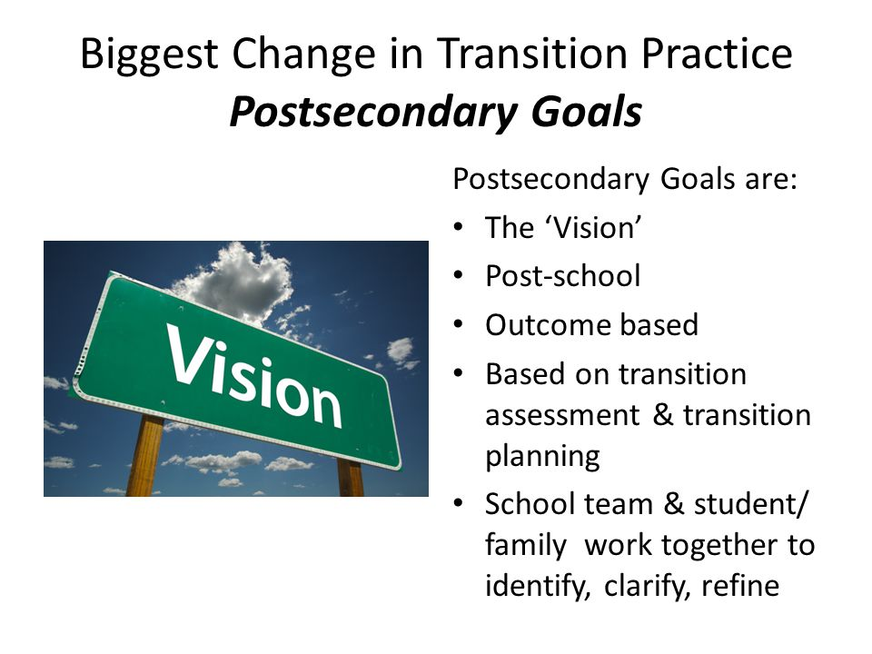 Biggest Change in Transition Practice Postsecondary Goals Postsecondary Goals are: The 'Vision' Post-school Outcome based Based on transition assessme