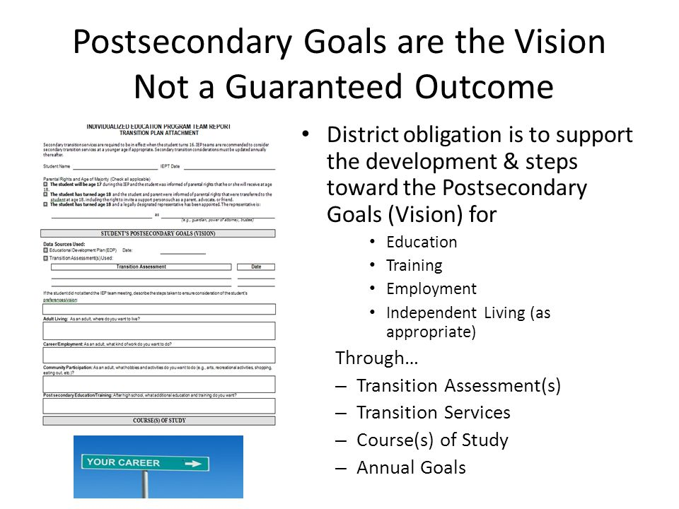 Postsecondary Goals are the Vision Not a Guaranteed Outcome District obligation is to support the development & steps toward the Postsecondary Goals (