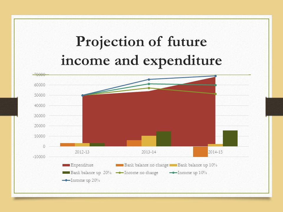 Projection of future income and expenditure