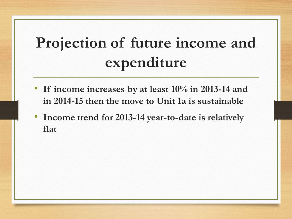 If income increases by at least 10% in 2013-14 and in 2014-15 then the move to Unit 1a is sustainable Income trend for 2013-14 year-to-date is relatively flat
