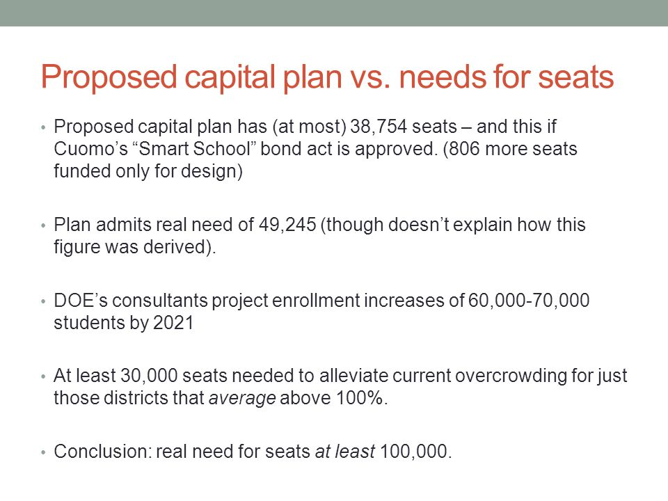 "Proposed capital plan vs. needs for seats Proposed capital plan has (at most) 38,754 seats – and this if Cuomo's ""Smart School"" bond act is approved."