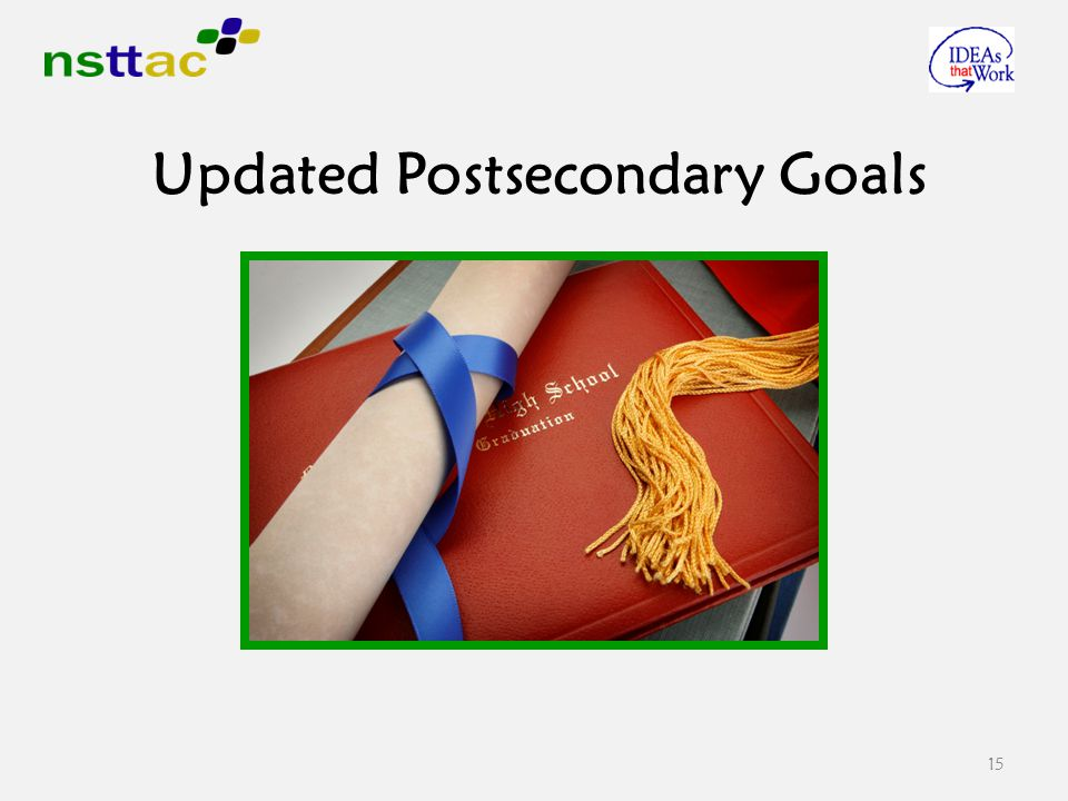15 Updated Postsecondary Goals