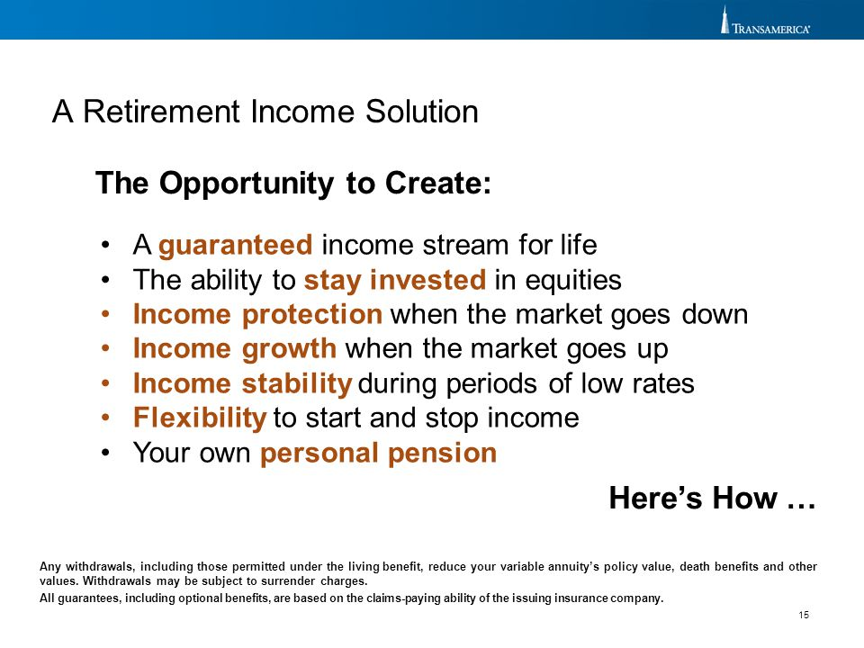 15 The Opportunity to Create: A Retirement Income Solution Any withdrawals, including those permitted under the living benefit, reduce your variable a