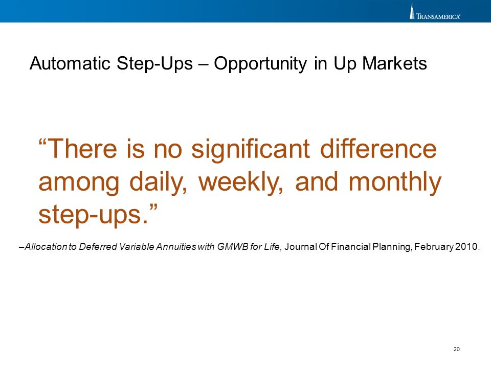 "20 ""There is no significant difference among daily, weekly, and monthly step-ups."" –Allocation to Deferred Variable Annuities with GMWB for Life, Jour"