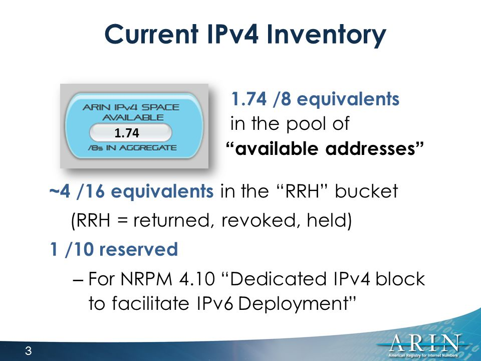 Current IPv4 Inventory ~4 /16 equivalents in the RRH bucket (RRH = returned, revoked, held) 1 /10 reserved – For NRPM 4.10 Dedicated IPv4 block to facilitate IPv6 Deployment 1.74 1.74 /8 equivalents in the pool of available addresses 3