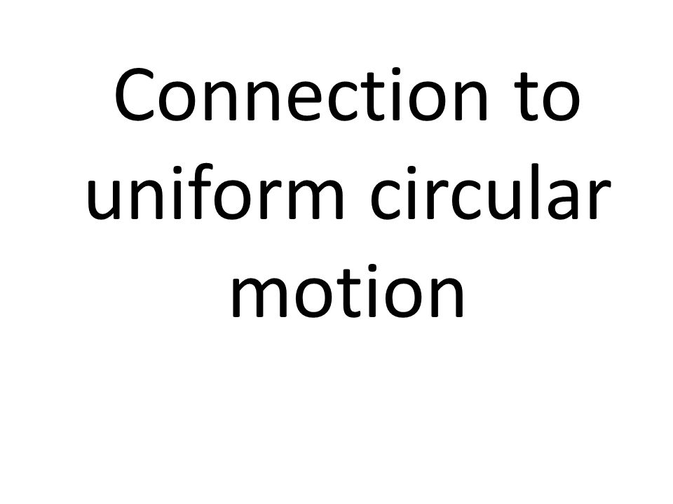 Connection to uniform circular motion