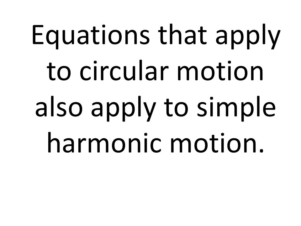 Equations that apply to circular motion also apply to simple harmonic motion.